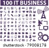100 it business icons, signs, vector illustrations - stock photo