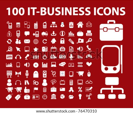 100 it-business icons, signs, vector illustrations - stock vector