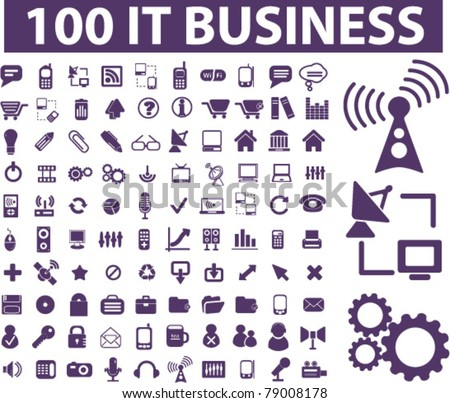 100 it business icons, signs, vector illustrations - stock vector