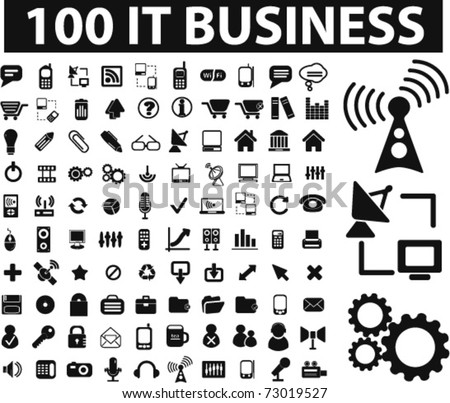 100 it & business icons, vector
