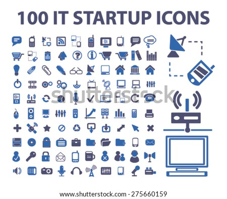 100 it, internet technology, communication, connection icons, signs. illustrations set, vector - stock vector