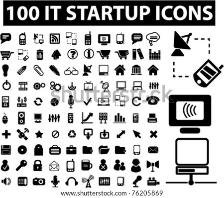 100 it startup icons, signs, vector illustrations - stock vector
