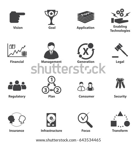 Vector Set 16 Icons Related Business Stock Vector ...