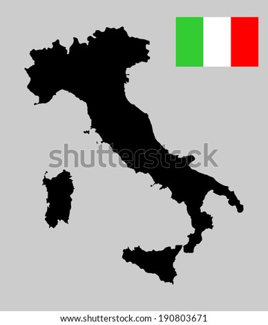 Italy vector map with flag isolated on gray background. High detailed tricolor illustration. - stock vector