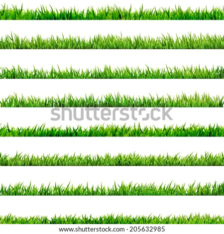 8 item set, small Grass isolated on white. And also includes EPS 10 vector - stock vector