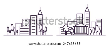 ?ity landscape line vector illustration with skyscrapers and trees - stock vector