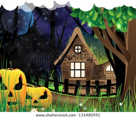 Jack O'Lanterns near a forest lodge. Night Halloween scene. - stock vector