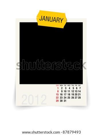 2012 january calendar with blank photo frame - stock vector