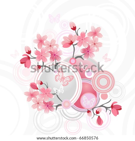 Japanese cherry blossom, vector illustration