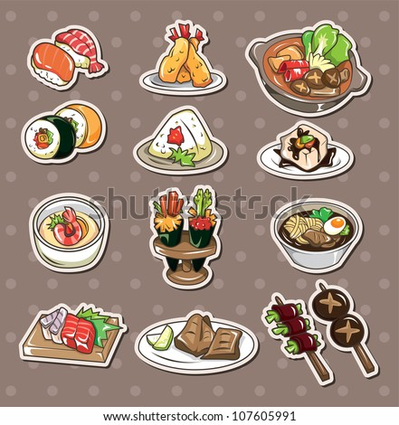 Japanese food stickers - stock vector