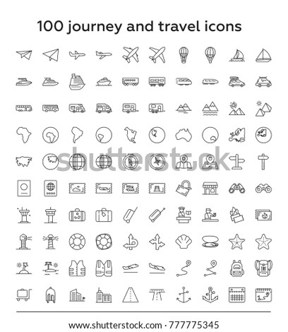 100 journey and travel thin line icon set