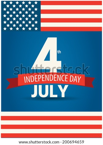 4 July american independence day design with flag - stock vector