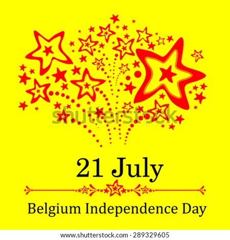 21 July.  Belgium Independence Day. Celebration Card. Vector Illustration