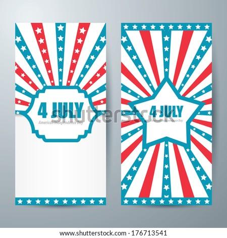 4 july card template design. Vector - stock vector