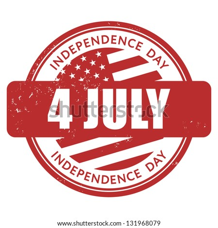 4 July Independence Day stamp - stock vector