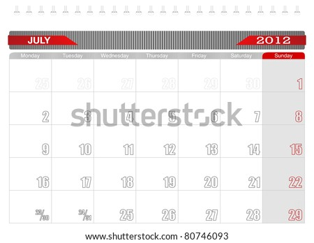 2012 July-Planning Calendar,Week starts on Monday. - stock vector