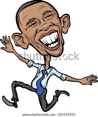 JULY 5, 2014: Vector illustration of President Obama jumping for joy - stock vector