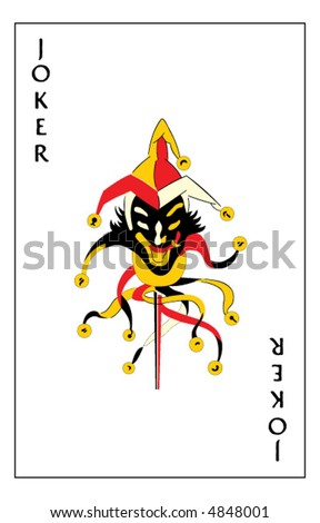 """Jumping Jack"" joker playing card - stock vector"
