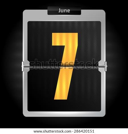 7 june - daily flip calendar, high detailed concept - stock vector
