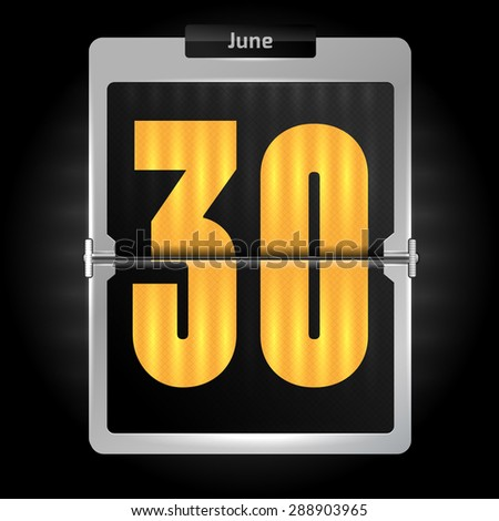 30 june - daily flip calendar, high detailed concept - stock vector