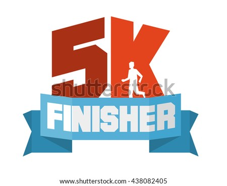 5k running finisher. Flat vector illustration.
