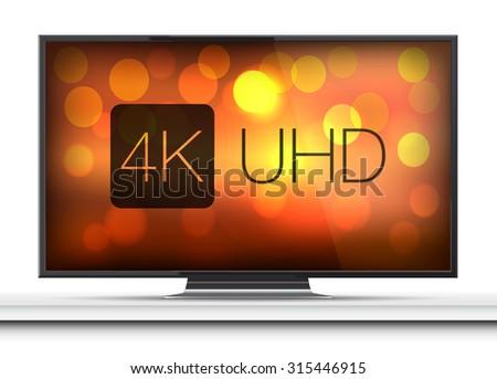 4K screen resolution smart TV on white table - stock vector