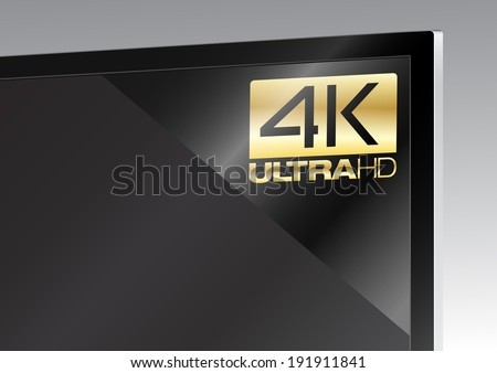 4K sticker on TV - stock vector