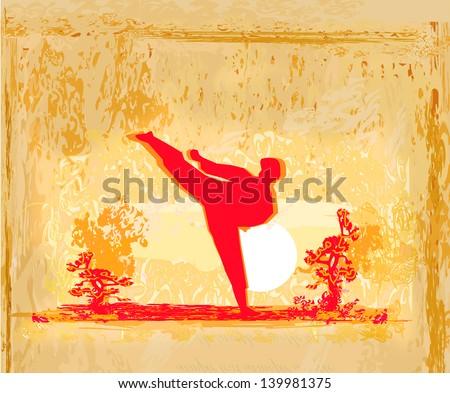 karate Grunge poster - stock vector