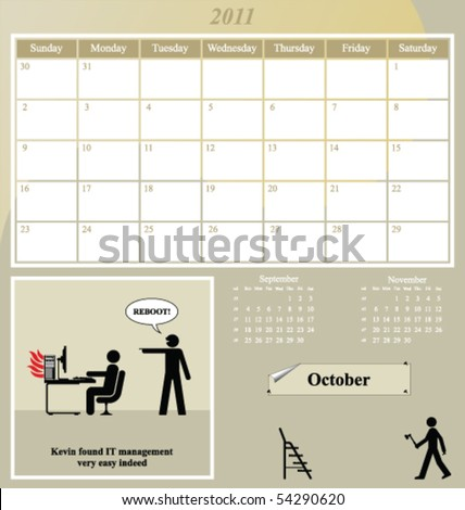 2011 Kevin series calendar for the month of October - stock vector