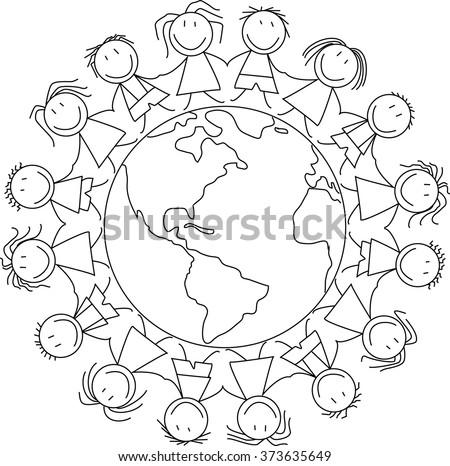kids holding hands on world - kids illustration - children drawing  - stock vector