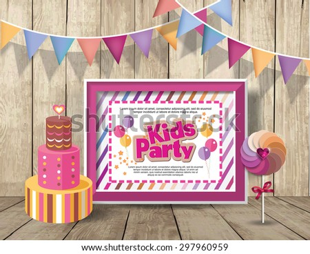 Kids Party design template.  Happy birthday  - stock vector