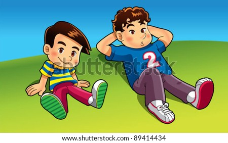 2 kids sitting on field - stock vector