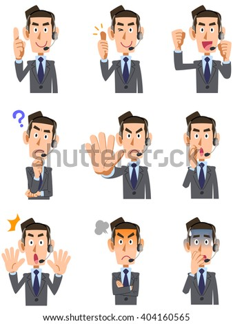 9 kinds of facial expressions and gestures of men operator - stock vector