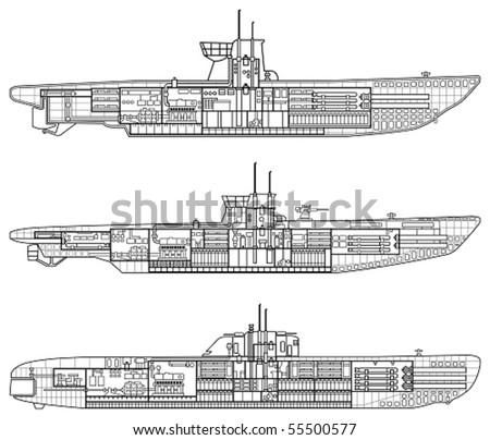 3 kinds of German u-type submarine - stock vector