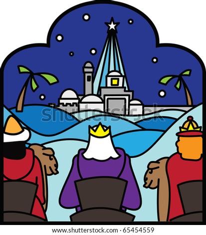 3 kings arriving at Bethlehem vector - stock vector