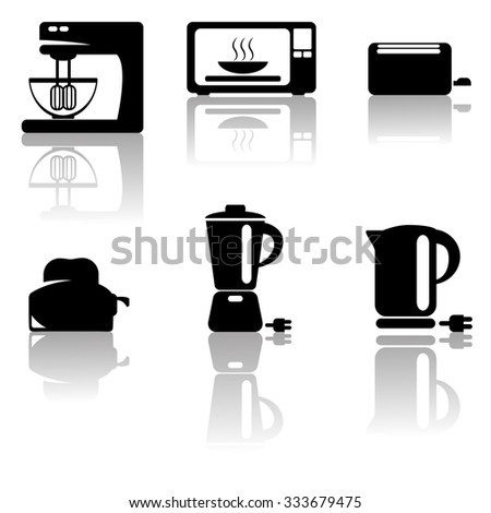 Kitchen black icons, tools, vector eps 10
