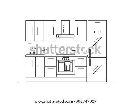 Kitchen interior with furniture. Line vector illustration - stock vector