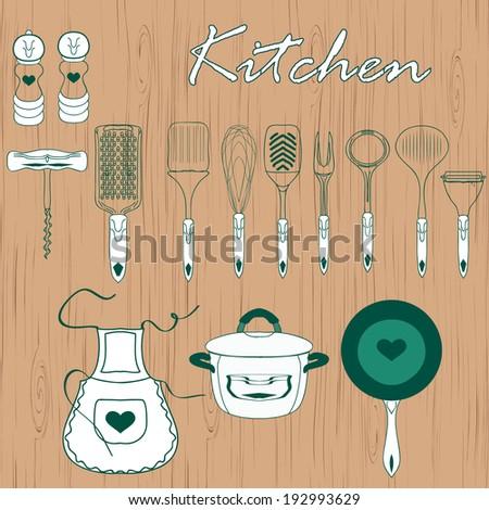 kitchen utensils over wooden background vector illustration - stock vector