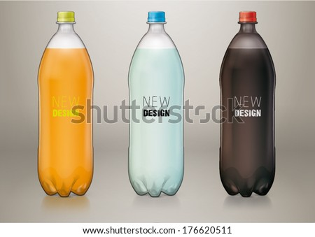 1,5 L transparent plastic bottle for new design. Sketch style - stock vector