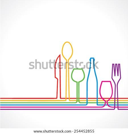 Label for restaurant with kitchen utensils vector - stock vector