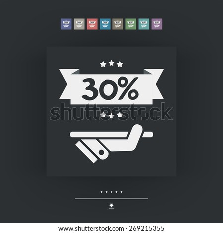 30% Label icon - stock vector