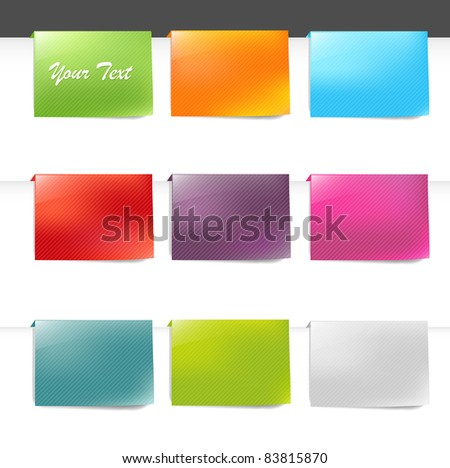 9 Labels, Isolated On White Background, Vector Illustration - stock vector
