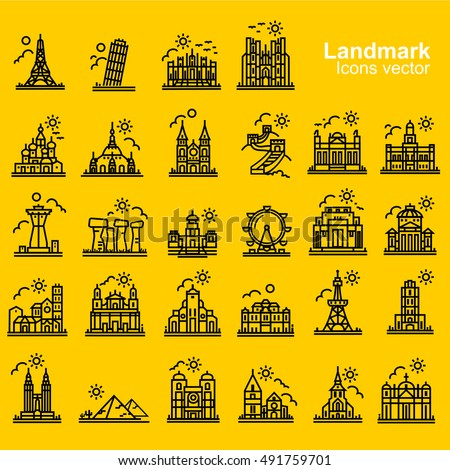 landmarks and travel destinations outline  icons vecter