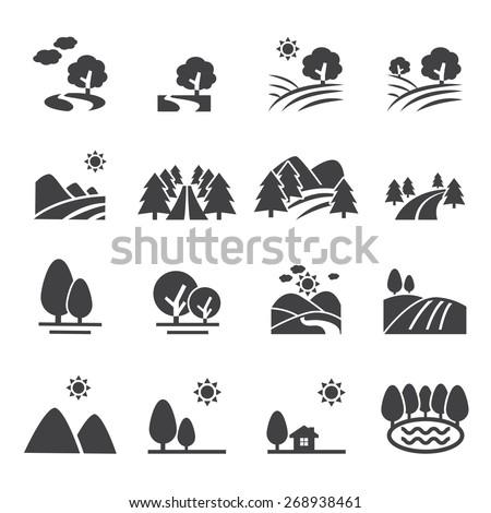 landscape icon - stock vector