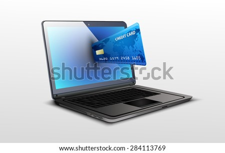 Laptop and credit card on white isolated background. Vector
