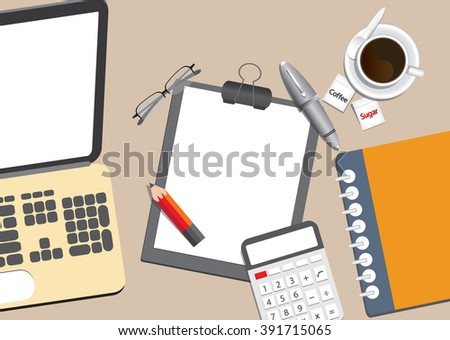 laptop, coffee and office supplies vector , top view of workplace.