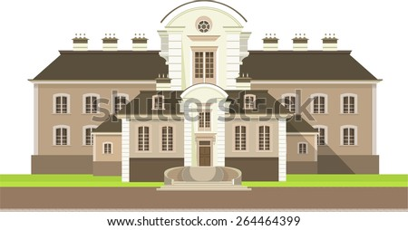 Large country house with flower beds and lawn white background, - stock vector