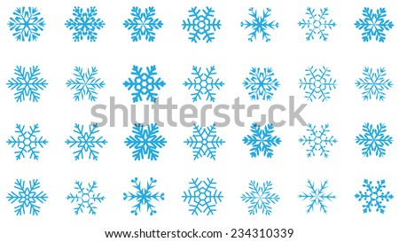 large set of various carved, lace or simple  blue snowflakes  - stock vector
