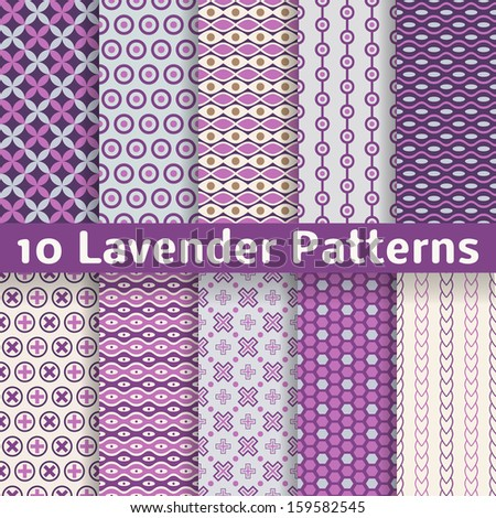 10 Lavender different vector seamless patterns (with square swatches). Endless texture can be used for elegant dream wallpaper, pattern fills, web page background, surface textures. Abstract ornaments - stock vector