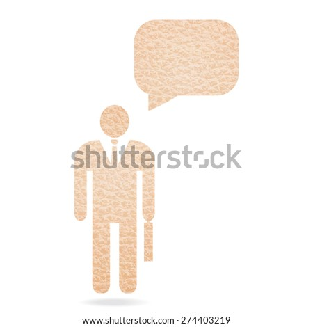 leather texture businessman with speech bubble for text - stock vector